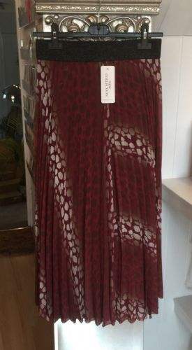 Pleated Maxi Skirt - Snakeskin - Burgundy